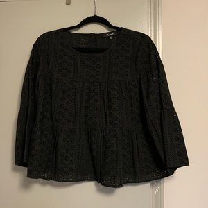Madewell eyelet 3/4 top! Size L.